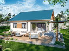 DOM.PL™ - Projekt domu ARP TANIS CE - DOM AP1-69 - gotowy koszt budowy Single Story Homes, One Story Homes, Home Design Plans, Plan Design, Small House Design, Modern House Design, Small Terrace, Modern Bungalow, Terrace Design
