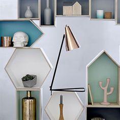 Bloomingville hexagon shelf - white - Bloomingville