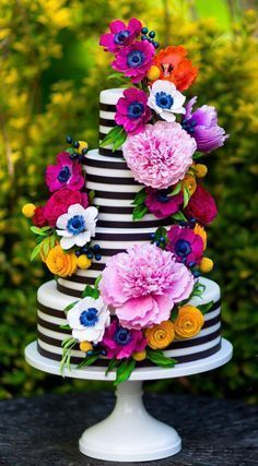 Colorful Sugar Flower Cake I Black and White Stripe Wedding Cake I Black and White Stripe Cake I Mischief Maker Cakes #blackandwhitestripecake #mischiefmakercakes #themischiefmaker #bemischievious #colorfulweddingcakes