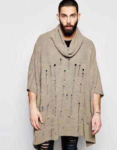 De lækreste ASOS Knitted Poncho with Laddering - Light brown ASOS Jumpers til Herrer i luksus kvalitet