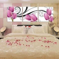 Free Shipping3 piece canvas art sets beautiful decorative flowers Tulip abstract wall painting designs living room wall pictures