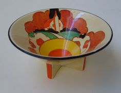 Even Clarice Cliff (1899-1972),who took the pottery world by storm from the late 1920s with her bold and colourful art deco designs, could not avoid traditional imagery of the countryside. This is her Farmhouse pattern - with thatched roof inevitably - which made its first appearance in 1931. It's on the conical bowl shape that Cliff introduced in 1929, one of a series of new designs that were brought in as the stock of the old Newport Pottery - which had been taken over by Wilkinson's and…
