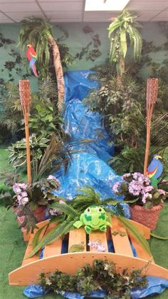 Waterfall for journey off the map vbs 2015 Jungle Room, Jungle Party, Safari Party, Safari Theme, Jungle Safari, Jungle Theme, Rainforest Classroom, Rainforest Theme, Vbs Themes