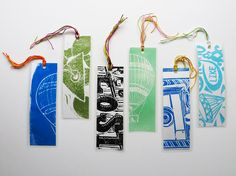 One Cool Colored Upcycled Linocut Bookmark by 30SilentMockingbirds, $2.00