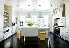 Melanie Turner Interiors: White & yellow chic kitchen design with white kitchen cabinets, calcutta marble counter ...