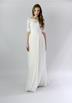Cheap dress toddler, Buy Quality dresses less directly from China dress me prom dresses Suppliers: Vintage Long Beach Wedding Dresses With Half Sleeves 2016 Bohemian Lace Boho Wedding Dress Buttons Wedding Gown robe de mariage Leanne Marshall Wedding Dresses, Pretty Wedding Dresses, Wedding Dress Chiffon, Modest Wedding Dresses, Wedding Dress Styles, Lace Chiffon, Casual Lace Wedding Dress, Casual Bride, Romantic Dresses