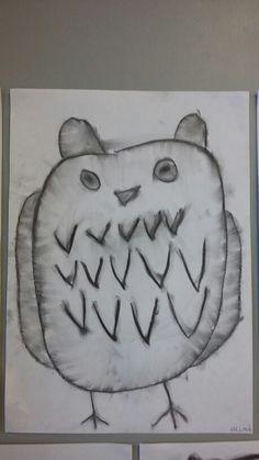 Hiilityö Totti-pöllö eskari Art Lessons, Education, Teaching, Educational Illustrations, Studying