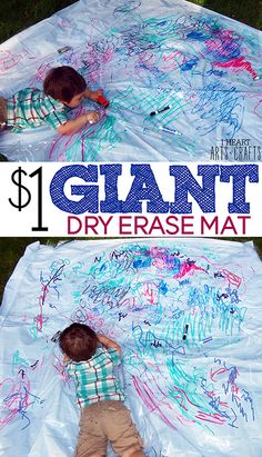 $1 Giant Dry Erase Mat Kids Activity www.iheartartsncrafts.com