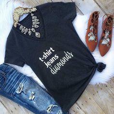 Tshirt Jeans & Diamonds Tee #JessLeaBoutique