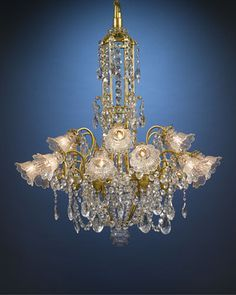 Antique Baccarat Crystal And Dore Bronze Chandelier With Hundreds Of Beautifully Designed Oversized, Luminous Prisms And Beads Of Baccarat Crystal Hanging From Scrolling Branches Of Dore Bronze   c.1880  ~  M.S. Rau Antiques