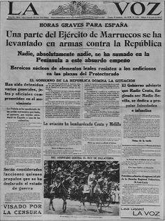 Portada del Diario La Voz del 18 de julio de 1936. Aún no se le daba a la sublevación la importancia que tendría. Fuente