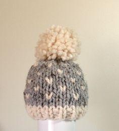 Knit Baby Hat Toddler Hat Pom Pom Baby Hat Boy hat by ellinell