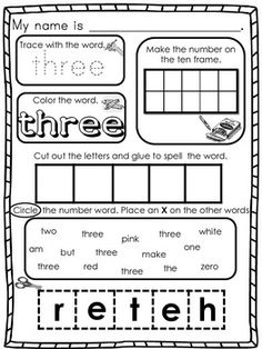 NUMBER WORD BUNDLE (4 ACTIVITIES INCLUDED IN THIS 35 PAGE BUNDLE) - TeachersPayTeachers.com