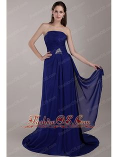 Peacock Blue Empire Strapless Court Train Chiffon Sequins Prom Dress  http://www.fashionos.com  This one features a strapless bodice with wrapped details and a pretty beading star along the waist. Golden, shimmering embellishments adorn the dress throughout and catch the light in a lovely way. This gown has a lovely ruch bodice and a pleated skirt with a long train.