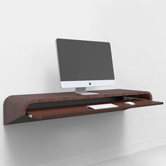 Minimal Float Desk Walnut | pretty rad ser up for a office