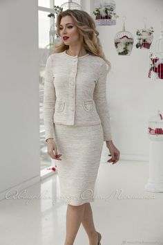 """Classic knitted two-piece suit """"Elegant style"""" in the style of the famous fashion house! Elegant Dresses Classy, Elegant Dresses For Women, Classy Dress, Classy Outfits, Casual Dresses, Fashion Dresses, Womens Dress Suits, Suits For Women, Clothes For Women"""
