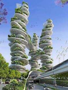 """Die """"Farmscraper"""" des belgischen Architekten Vincent Callebaut sollen die Landwirtschaft zurück in die Städte bringen."""