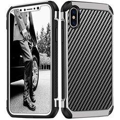 Hybrid Shockproof Carbon Fiber Case Bumper Cover For iPhone X iPhone 10 Black HQ