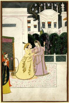 Lovers on a terrace with water-pipe and attendants, 1840 (circa). Pahari School; Kangra Style. Painted in: Panjab Hills.   The British Museum