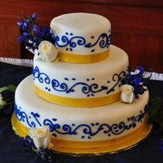 Simple blue and gold wedding cake By dandkcakesinri on CakeCentral.com