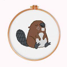 Beaver cross stitch pattern modern cross stitch by ThuHaDesign