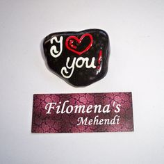 Small Henna Design Hand Painted Stone I love by FilomenaMehendi