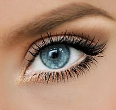 Bronzed eye makeup.
