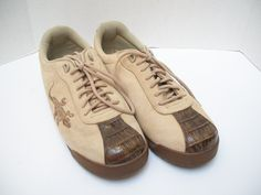 Slick Exotica Mens Casual Sport Shoes Brown Leather Size 12