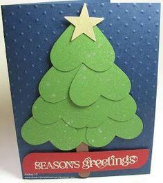 Sydämistä tehty joulukuusi-kortti