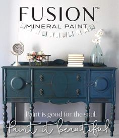 Our Buffet in Homestead Blue by Fusion Mineral Paint!