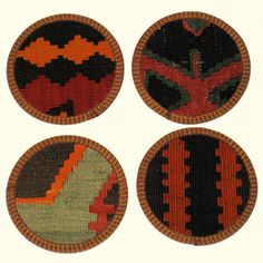 I have way too many of these coasters from Rug & Relic. They're made of recycled kilims with leather trim/bottom - they protect surfaces and are big enough for mugs, vases, etc.  Sustainable, practical and I've even use them as a hostess gift!  Love!!!