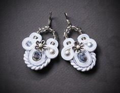 Elegant White Soutache Earrings with Silver Elements Beaded Soutache Bridal Wedding