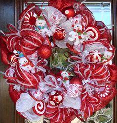 festive deco mesh christmas wreaths ideas white red christmas decor snowmen toys