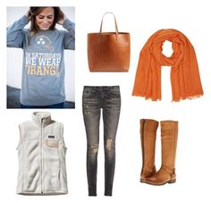 """Tennessee game day outfit"" by julienewman on Polyvore featuring R13, Frye, M&Co, Patagonia and Madewell"