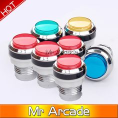 Бесплатная доставка Хромированная, с подсветкой, 12 В СВЕТОДИОДНЫЕ Аркады Кнопка с микровыключателем 5 цвета 1 шт.