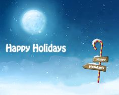 Happy Holidays Candy Cane Image Moon View