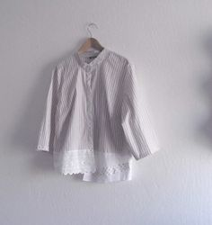 Eco Friendly Rustic Shirt/ Boho girl Stripe Shirt/ by KheGreen, $41.00