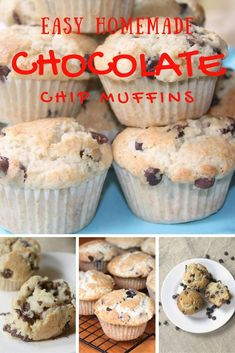 Homemade Chocolate Chip Muffins—better than a mix, moist, and filled with real chocolate chips! Great for breakfast, afternoon snack, or anything in between! Healthy Muffin Recipes, Best Breakfast Recipes, Waffle Recipes, Brunch Recipes, Baking Recipes, Dessert Recipes, Bread Recipes, Fun Recipes, Cookbook Recipes