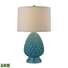 Acorn Ceramic LED Table Lamp in Deep Seafoam Glazed Ceramic D2620-LED by Elk Lighting Group