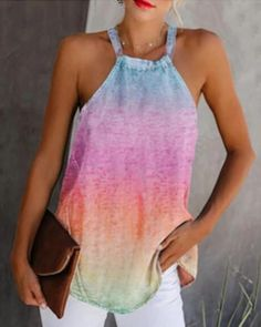 Halter Butterfly / Tie Dye Print Casual Tank Top – bodyconest Cami Top Outfit, Printed Tank Tops, Crop Tops, Cropped Tank Top, Sleeve Styles, Fashion News, Tie Dye, Clothes, Vestidos