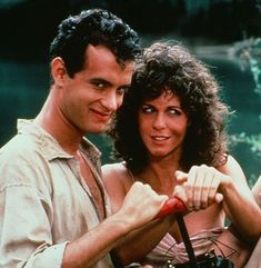 "Rita Wilson y Tom Hanks en ""Voluntarios"" (Volunteers), 1985"