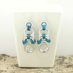 pop tabs and blue chainmaille earrings - pair, upcycle, recycle, eco - blue chainmaille earrings, soda tab earrings, pull tab earrings