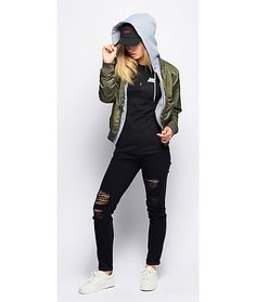 Trillium mika olive bomber fleece hooded jacket in 2019 Cute Tomboy Outfits, Swag Outfits, Fall Outfits, Tomboy Style, Girly Tomboy Fashion, Teen Boys Outfits, Tomboy Clothes, Tomboy Girl, Cute Outfits With Leggings