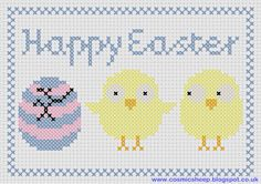 Free Easter Chick pattern to cross stitch, from cosmicsheep. This is simple and small enough for beginners.