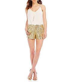 23c68458e42 B Darlin Surplice Sequin Short Romper  Dillards Gold Shorts