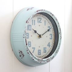 Dibor Industrial Columbia Blue Round Wall Clock (€42) ❤ liked on Polyvore featuring home, home decor, clocks, blue, blue wall clock, blue clock, blue home decor and blue home accessories