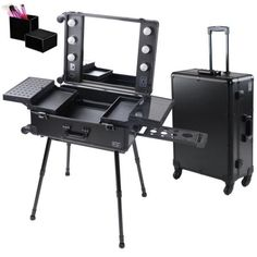 4-Wheel Rolling Studio Makeup Case w/ Light Artist Cosmetic Case Adjustable Leg Mirror Train Table Black