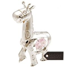 Silver Plated Cartoon Giraffe with Clear-Cut Crystals