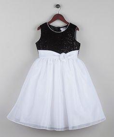 This Black & White Glitter-Bodice Dress - Girls is perfect! #zulilyfinds