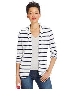 Tommy Hilfiger Striped Linen Blazer - Women - Macy's